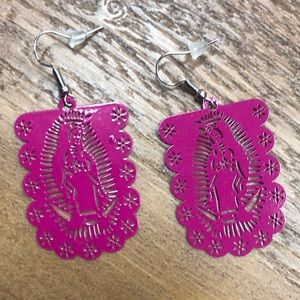 Our Lady of Guadalupe Earrings Papel Picado Style
